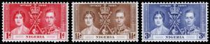 Nigeria Scott 50-52 (1937) Mint NH VF Complete Set C