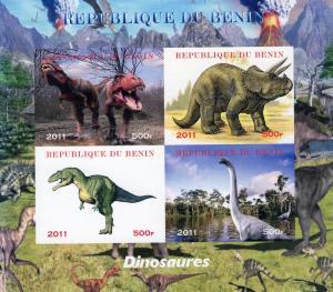 Benin 2011 Dinosaurs Shlt (4) Imperforated  MNH VF