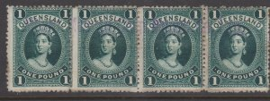 Queensland Sc#83 Used strip of 4  - Fiscal Cancel