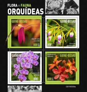 Guinea-Bissau - 2019 Orchid Flowers - 4 Stamp Sheet - GB190508a