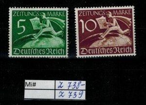 Deutschland Reich TR02 DR Mi Z 738 - Z 739 1941 Reich Postfrisch ** MNH