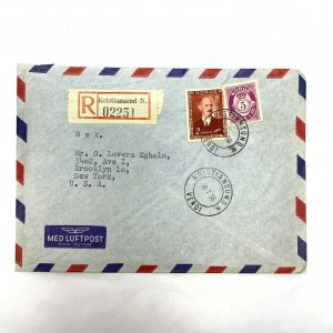 Kristiansund Norway > Brooklyn NY 1956 Registered airmail cover