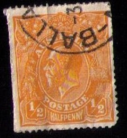 Australia  Sc #20 Used  KGV Head 1/2p Orange F-VF