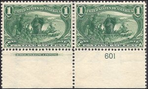 285 Mint,OG,HR... Imprint/Plate# Pair... SCV $65.00