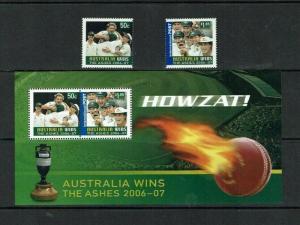 Australia: 2007 'Australia Win the Ashes', MNH set + M/S