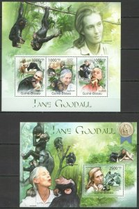 BC585 2011 GUINEA-BISSAU FAUNA ANIMALS JANE GOODALL PRIMATES MONKEYS 1KB+1BL MNH