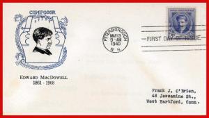 US FDC #882 M17 5c Famous Americans Edward MacDowell Cachet Craft Cachet