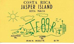 7113 Amateur Radio QSL Card  JASPER ISLAND COSTA RICA