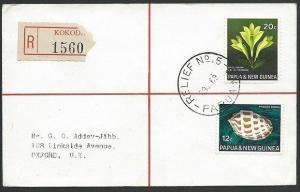 PAPUA NEW GUINEA 1969 registered cover RELIEF No.5 cds.....................48546