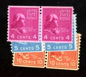 U.S. #843 845 847 MINT PAIRS F-VF OG NH Cat $51