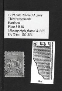 1918 2d roo 3rd wmk, Die11A,variety:missing frame & P/E plate 3R48 ASC8(3)m