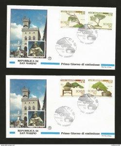 J) 1999 SAN MARINO, CASTLE, BONSAI TREES, SET OF 2 FDC, UNUSED