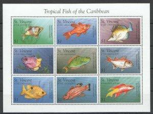 PK443 ST. VINCENT MARINE LIFE OF THE CARIBBEAN FAUNA TROPICAL FISH 1KB MNH
