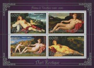 Erotic Art Paintings Palma Il Vecchio Souvenir Sheet of 4 Stamps Mint NH