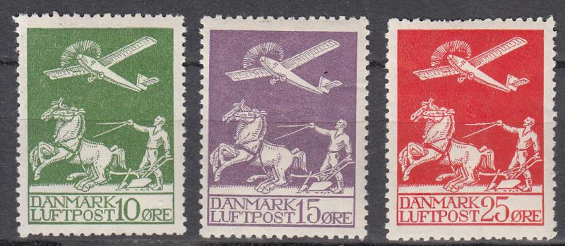 Denmark - 1925/1926 Air stamps  Sc# C1/C3 - MH  (7076)
