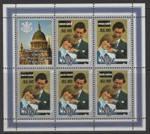 NIUE SG520 1983 $2.60 on $1.20 PRINCE CHARLES & PRINCESS DIANA SHEETLET MNH