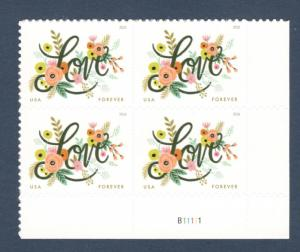 5255 Love Flourishes Plate Block Mint/nh FREE SHIPPING
