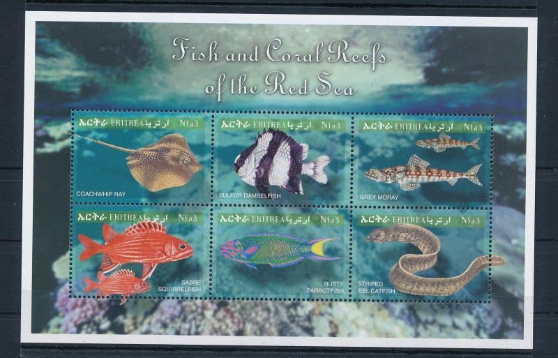 [28237] Eritrea 2000 Marine Life Fish Coral reef Red Sea MNH Sheet
