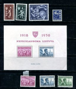 Lithuania 1939 Mi Block 1 and 426-432 MNM/MH/Used 8683