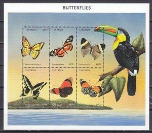 Tanzania, Scott cat. 1966 a-f. Butterflies sheet. ^