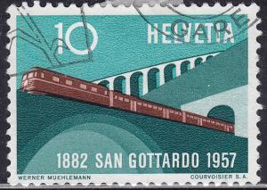 Switzerland 360 USED 1957 Train South of Gotthard Railway