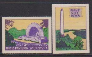 USA SIOUX CITY IOWA  CINDERELLA STAMPS (2).LOT#179