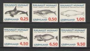 Greenland Sc 303-08 1996 Whales stamp set mint NH
