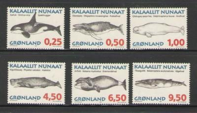 Greenland Sc 303-8 1996 Whales stamp set mint NH