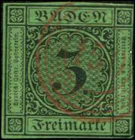 Germany - Baden SC# 7 canceled red #150 Waghausel SCV $114.00