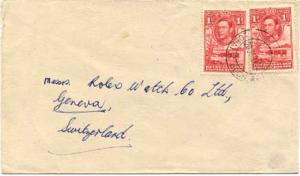 Bechuanaland 1d KGVI Cattle and Baobab Tree (2) 1952 Lobatsi, Bech. Prot. to ...