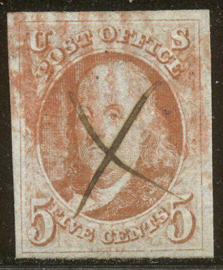 U.S. #1c RARE XF Used w/Cert - 1847 1c Red Orange