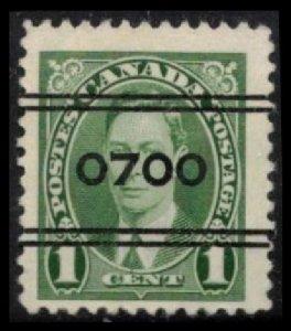 CANADA 1937 KGVI VINTAGE SCARCE 1c #10-231 GREEN 700 MONTREAL PRECANCEL