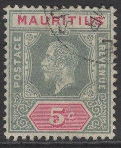 MAURITIUS SG196 1913 5c GREY & CARMINE USED