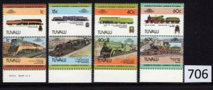 $1 World MNH Stamps (706), Tuvalu, #222-5, Trains, set of 8