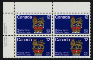 Canada 735 TL Plate Block MNH Governor General's Standard, Crest