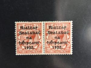 Ireland 2015 Sc.#21 VF-NH 1922 Three Half Pence Harrison Ovpt. Pair Cat. $24.