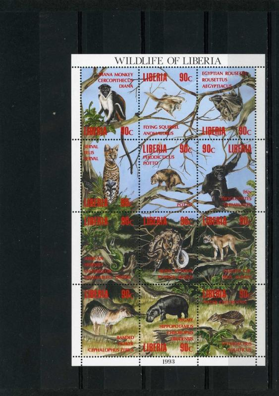 LIBERIA 1993 Sc#1160 FAUNA/WILDANIMALS SHEET OF 12 STAMPS MNH