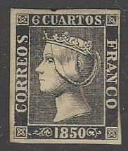Spain #1b Mint Light HR Imperf. Thick Paper Type I cv $850.00