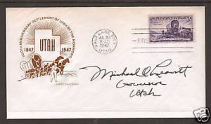 Gov. Michael O. Leavitt signature on 1947 3c Utah FDC