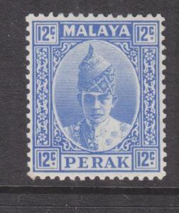 PERAK, MALAYSIA, 1938 Sultan, 12c. Ultramarine, heavy hinged mint.