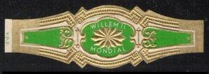 WILLEM II MONDIAL CIGAR, VINTAGE UNUSED CIGAR BAND TOBACCO CINDERELLA