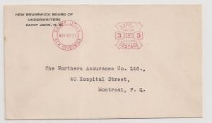 CANADA New Brunswick 1937 Pitney-Bowes meter stamp on cover