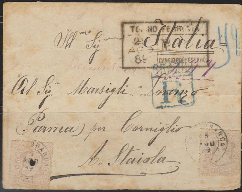 O) 1889 BRAZIL CIRCULATED COVER \\\DOM PEDRO CABECAS\\\ FROM C