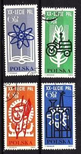 Poland 1964 Scott 1246-49 Cmplt cto set - scv $1.00 less 50%=$0.50 Buy it Now!!!