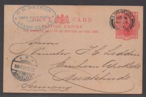 *Great Britain Postal Card H&G#18, Stamp Dealer Card, Liverpool, 1903