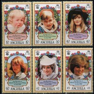ANGUILLA 1982 - Scott# 485-90 Princess Diana Set of 6 NH