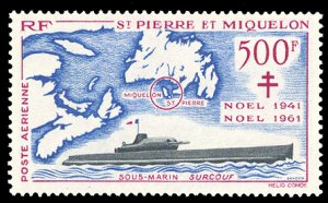 St. Pierre and Miquelon #C25 MNH CV$130.00 Surcouf Gulf of St Lawrence Map [1...