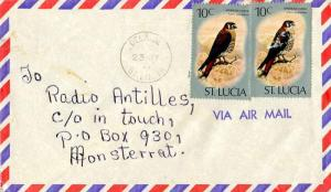 Saint Lucia 10c American Kestrel (2) 1978 Delaide, St. Lucia Airmail to Monts...