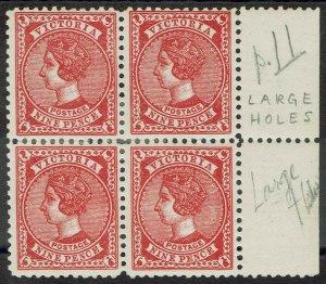 VICTORIA 1912 QV POSTAGE 9D BLOCK WMK V/CROWN PERF 11