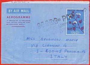 aa2316 -  PAKISTAN  - Postal History - PROPAGANDA on  AEROGRAMME to ITALY  1973